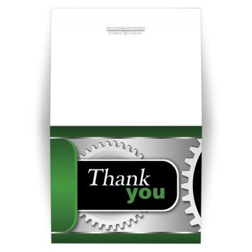 Thank You Cards - Mechanical Gears Green and Black