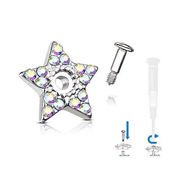 WildKlass Crystal Paved Star Dermal Anchor Jacket with 316L Surgical Steel Screw on Post