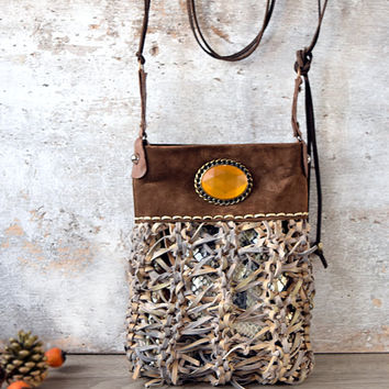 Brown and beige leather crossbody bag, small purse, boho chic style bag
