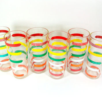 Striped Arrow Glassware Colorful Vintage Retro Drinking Glasses Set of 6