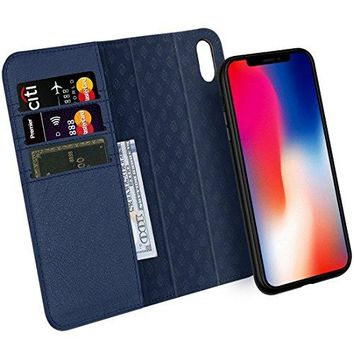 Zover iPhone X Case Detachable Genuine Leather Wallet Case With Auto Sleep/Wake Function Support Wireless Charging Magnetic Car Mount Holder Kickstand Feature Magnetic Closure Gift Box Navy Blue
