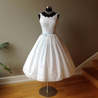 PRIMROSE, Wedding Dress Tea Length Eyelet, Off Shoulder