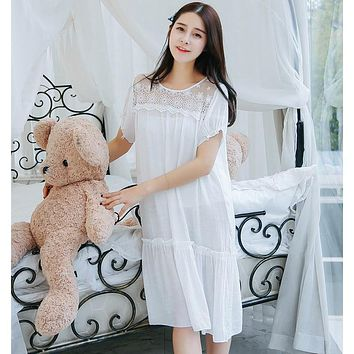 White nightdress Women sleepwear Home dress  For Women Sleep Dress Lace Princess Linen Nightgown Female Long  Summer 554