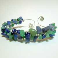 Green and Blue Aventurine Cluster Bangle Bracelet, Silver Plated Wire