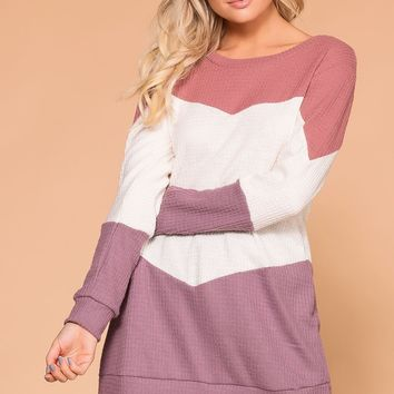 Izzy Mauve Colorblock Top