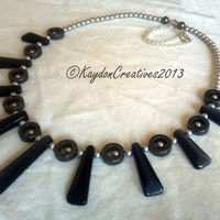 Hematite, Pearl, and Black Gemstone Fan Necklace-The Lil Black-tie Necklace
