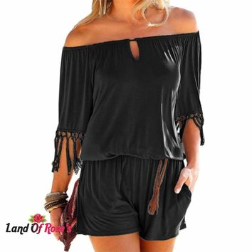 Summer Playsuits Sexy Slash Neck Tassel Beach Jumpsuits Shorts Overalls Boho Pockets Rompers
