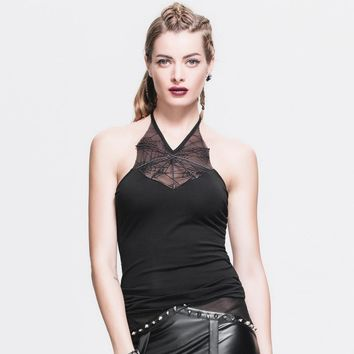 Fashion Gothic Sexy Backless Halter Tank Tops for Women Steampunk Summer Black Vest Sleeveless T-Shirts