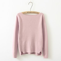 Plain Long-Sleeve Asymmetrical Sweater