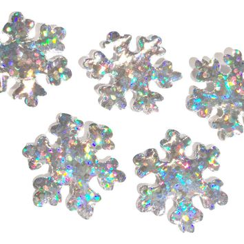 Silver holographic snowflake Christmas padded appliqués
