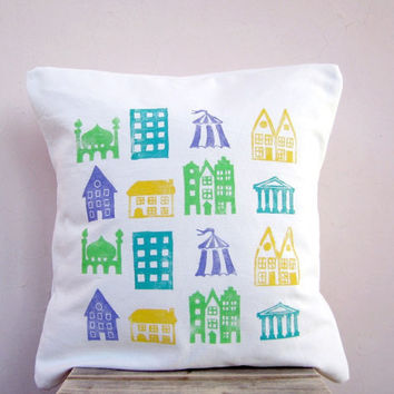 Children's  throw pillow eco friendly cotton colorful by EarthLab