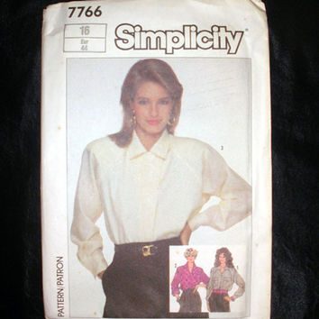 Women's Loose-Fitting Shirt Pattern, Misses' Size 16, Vintage Simplicity 7766 Sewing Pattern Uncut