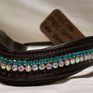 Bling English Curved Cob Browband Aqua and Iridescent White Rhinestones