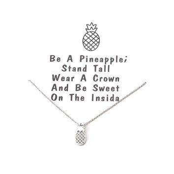 1pc Lucky Chain Wish Necklace Cute Lovely Pineapple Anchor Plant Fashion Necklaces Pendant for Women Girls Best Gift