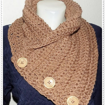 Crochet Scarf, 3 Button scarf, Wrap cowl, Shoulder Warp, FREE shipping