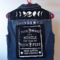 Feminist Vest // Medium Riot Grrrl Fist Studded Punk Jacket // Floral Print Feminist Killjoy Vest