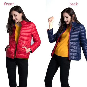 2016 New Autumn Winter Women Two Side White Duck Down Jacket Thin Winter Coats Parkas Lightweight Down Jackets CE256