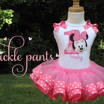Minnie Mouse Birthday Tutu Collection- Classic hot pink polka dots- Includes top, ribbon tutu and hairbow- Can be made to match your party