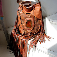 Rusted brown brick leather fringe long fringes bohemian boho unique bag with agate stone ginger hippie hippy gypsy southwestern western