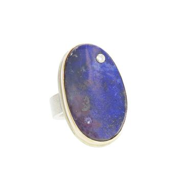 Asymmetrical Oval Boulder Opal Ring with Diamond by Jamie Joseph