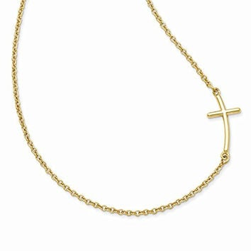 Sterling Silver Yellow Gold-plated Large Sideways Curved Cross Necklace
