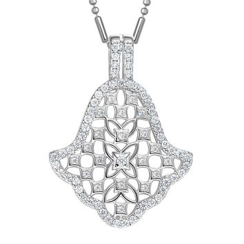 Fancy Magical Hamsa Evil Eye Protection Powers Amulet Silver-Tone Sparkling Crystals Necklace