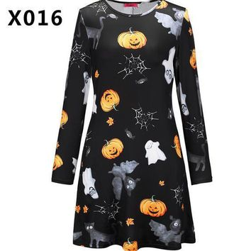 2018 Europe and the United States new Halloween clothes dress long-sleeved skull pumpkin high-definition print dress