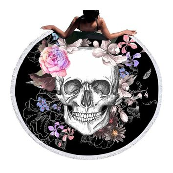 Sugar Skull Round Beach Towel Floral Tapestry Mat Flower