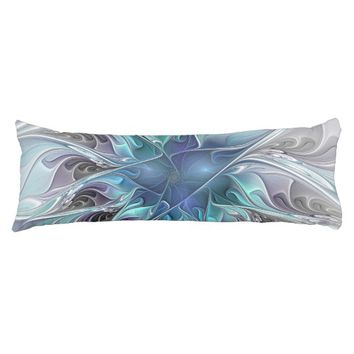 Flourish Abstract Modern Fractal Flower With Blue Body Pillow