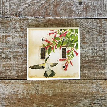 Light Switch Cover Double Decorative Light Switch Cover Hummingbird Light Switch Plate Floral Double Light Switch Cover Home Improvement