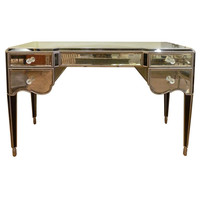 Flessas Design - Antiqued Mirror and Black Glass Vanity / Desk with Silver Detail