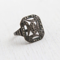 Antique Genuine Art Deco Sterling Silver Marcasite Ring - Vintage 1930s Rectangle Shield Jewelry / Filigree Swirls