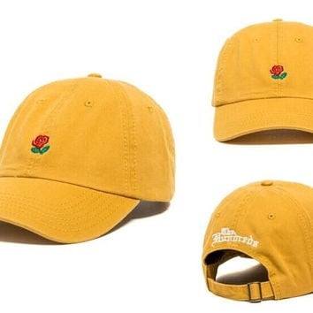 Yellow Rose Flower Baseball Caps Adjustable Sports Snapback