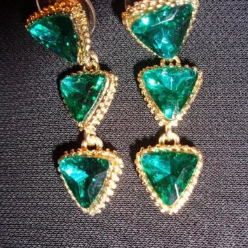 3 Tiered Faux Emerald Earrings