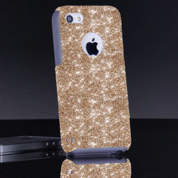 iPhone 5c Case Otterbox Custom Glitter Commuter Gold iPhone 5c Otterbox Sparkly Bling Glitter Case