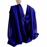 "Royal Blue Wide Long Shiny Scarf for Women Formal Evening Wrap With Gift Box Wedding Shawl Lightweight Cocktail Chiffon Stoles 77"" x 27"""