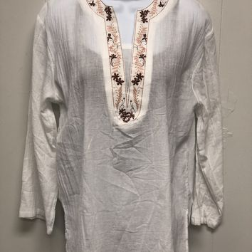 White Tunic Top Embroidery One Size
