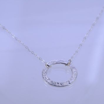 Eternity necklace, Hammered circle pendant, Mother's necklace, Mother of the bride gift