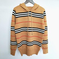 BURBERRY Popular Women Stripe Hoodie Knit Sweater Sweatshirt