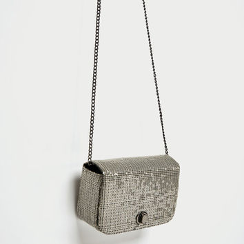 PRINTED MINI CROSSBODY BAG WITH SEQUINS DETAILS