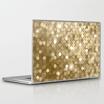 Gold glitter texture Laptop & iPad Skin by printapix