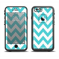 The Subtle Blue & White Chevron Pattern Apple iPhone 6 LifeProof Fre Case Skin Set