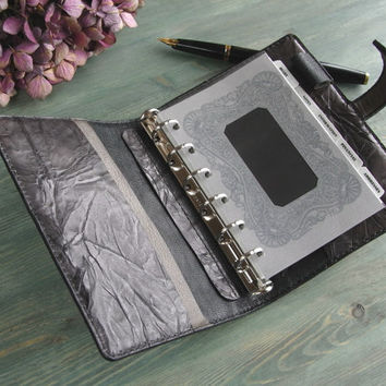 handstitched leather binder - vegetable tanned, charcoal gray, refillable pocket planner organizer, filofax pocket inserts - made to order