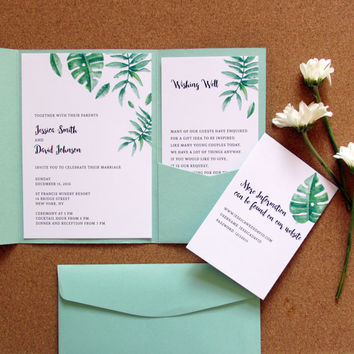 Green Tropical Pocket Wedding Invitation. Mint Green Wedding Invite.