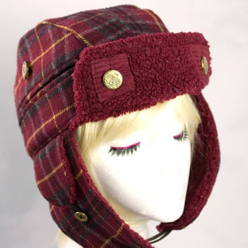 Trapper Hat with Earflaps - Lumberjack Burgundy Plaid Wool Hat - Bomber Aviator Biker Hats for Winter