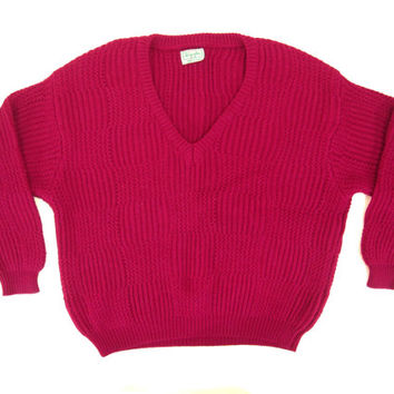 Vintage Fuchsia Slouchy Sweater - Chunky, Knit, Hot Pink, Slouchy, V-Neck, Wool - Women's Size Large Lrg L