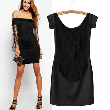Stylish Short Sleeve Black Tassels Slim Women's Fashion Skirt One Piece Dress [5013274948]