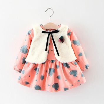 Winter Baby Girls dress Print Long Sleeve Princess Kids Autumn Warm Party Dress + Fleece vest 2Pcs Gilrs clothing