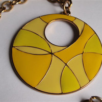 Vintage 1960's Enamelled Yellow Pendant and Goldtone Chain