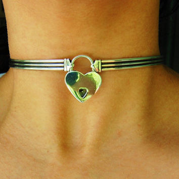 Solid 925 Sterling Silver Neck Cuff Neckwire Locking BDSM Slave Bondage  Day Collar and Sterling Silver Heart Lock